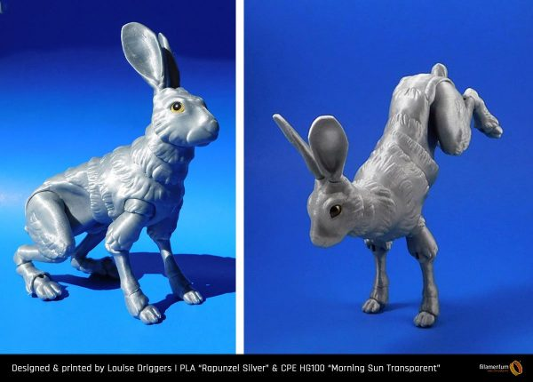 PLA_Extrafill_Rapunzel_Silver_CPE_HG100_Morning_Sun_Transparent_Louise_Driggers_Rabbit_1